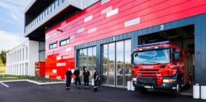 Red firestation with Steni Facade