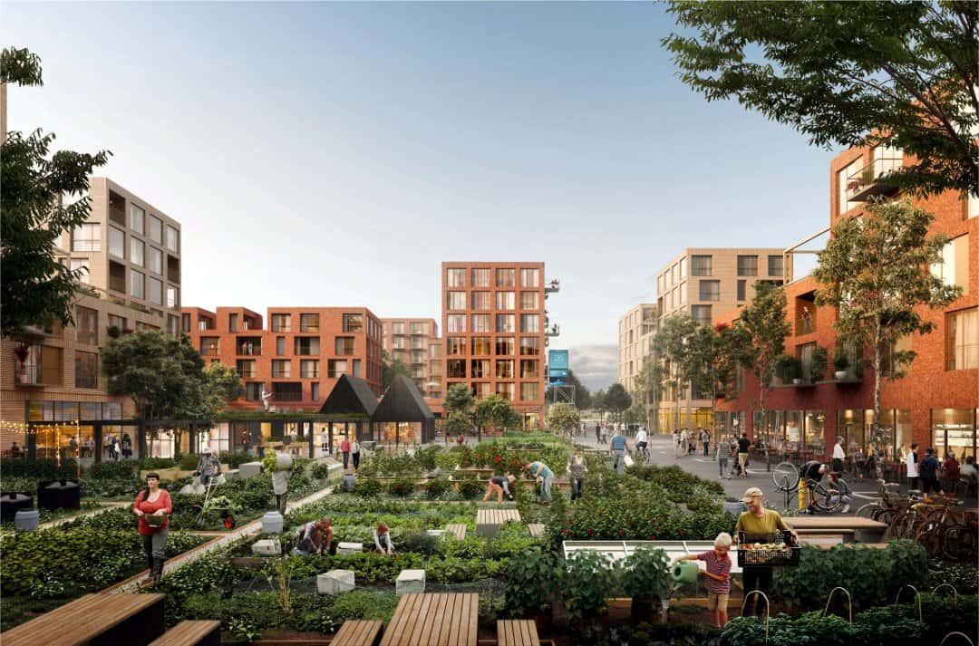 Blokker med urban dyrkning på Fornebu med OBOS