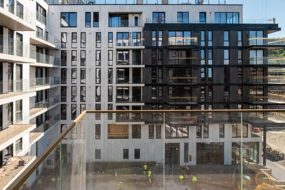 Eufemias Hage boligprosjekt fasade. Barcode Oslo