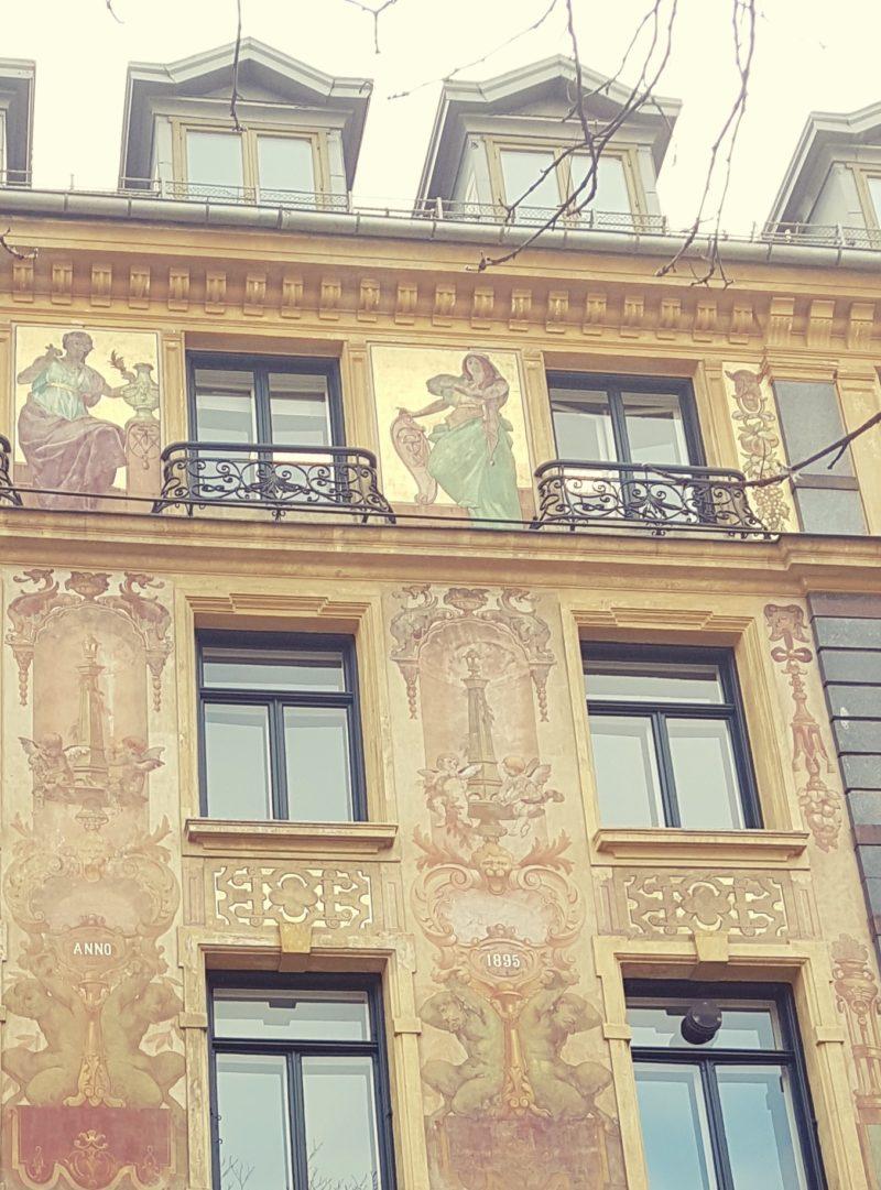 Akersgata Oslo med Keim silikatfarve malt i 1896